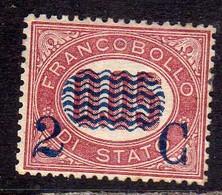 ITALIA REGNO 1878 VITTORIO EMANUELE II SERVIZI SOPRASTAMPATO SURCHARGED CENT. 2c Su 5 MNH CENTRATO FIRMATO SIGNED - Neufs