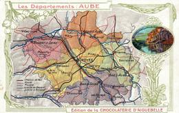 Publicité Chocolat - Les Départements: Aube Et Troyes - Edition De La Chocolaterie D'Aiguebelle - Carte Non Circulée - Hoteles & Restaurantes