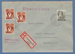 Saarland 1947 Mi.-Nr. 215 (3) Und 211 Auf R-Brief, O SAARBRÜCKEN 17.5.47 - Otros