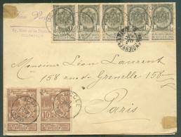 N°53(bande De 5)-72(paire) Obl. Sc UCCLE Sur Lettre Du 3 Décembre 1897 Vers Paris..TB - 17117 - 1894-1896 Ausstellungen