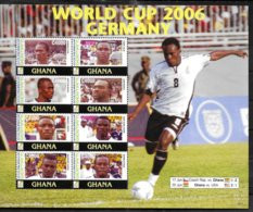 GHANA Feuillet  N° 3161A/68A  * *  SURCHARGE ( Cote 15e ) Cup 2006 Football  Soccer Fussball - 2006 – Duitsland