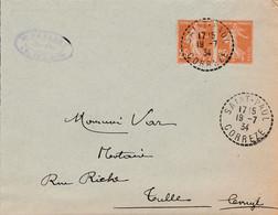 FRANCE LETTRE DE SAINT PAUL CORREZE 1934 - Storia Postale