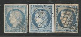 France : 3 Timbres Classiques Oblitérés (Ceres) - 1849-1850 Ceres