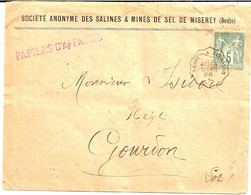 1J1  ---  Convoyeur-ligne   VESOUL A BESANCON 5c Sage Papiers D'affaires Société Des Salines & Mines De Sel De Miserey - Correo Ferroviario