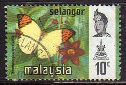 MALAYSIA MALESIA SELANGOR 1971 BUTTERFLY FARFALLA PAPILLON MARIPOSA CENT. 10c USATO USED OBLITERE' - Malesia (1964-...)