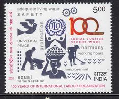 India MNH 2020, ILO International Labour Organization, Job, Dove Peace Bird, Women, Clock, Sex Symbol, - Neufs