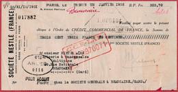 Société Nestlé France. Paris. 1932. - Cheques & Traverler's Cheques