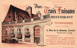 Dijon - Restaurant Aux Trois Faisans (R. Tournebize) Carte Non Circulée - Ristoranti