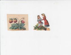 2 Prentjes - Meisjes Met Bloemen / Aardbeien - Fleurs