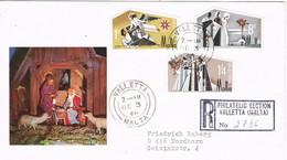 39065. Carta Certificada LA VALLETTA (Malta) 1968. Milied, NAVIDAD. Christmas - Malta