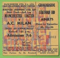 Manchester - Old Trafford Stadium Ticket Manchester United Milan Futebol Football Stade Billet Calcio Italia England - Tickets - Entradas
