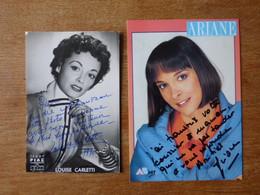 2 Autographes Sur Photo  Actrices Louise CARLETTI Et ARIANE Sa Fille - Autografi