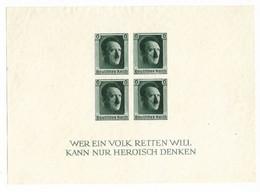 Germany 1937 Adolf Hitler 48th Birthday, Souvenir Sheet, Michel Block No 8. Scott B103. MNG - Blocks & Sheetlets