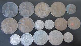 Grande-Bretagne - 16 Monnaies Entre 1898 Et 1951 Dont 3 En Argent, Six Pence 1938, 1943, 1944 - Collections