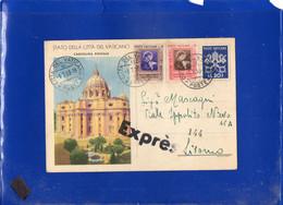 ##(DAN2101)-Città Del Vaticano 1953 - Cartolina Postale L.20 Cat.Filagrano C12/1 Espresso Per Livorno - Ganzsachen