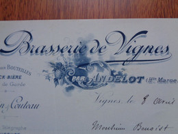 FACTURE - 52 - DEPARTEMENT DE LA HTE MARNE - VIGNES 1900 - BRASSERIE DE VIGNES PAR ANDELOT : GILBIN & COUTEAU - Non Classificati