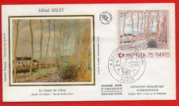 FDC ALFRED SISLEY CANAL DU LOING PARIS 3 11 1974 - 1970-1979