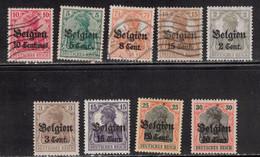 BELGIUM Scott # N3//19 MH & Used - German Occupation - Usados