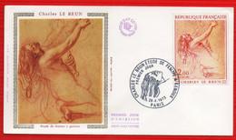 FDC  CHARLES LE BRUN ETUDE DE FEMME A GENOUX PARIS 28 4 1973 - 1970-1979