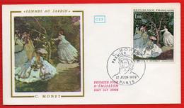 FDC MONET FEMMES AU JARDIN  17 6 1972 PARIS - 1970-1979