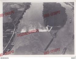 Fixe Basse Seine Barrage Péniche Prise Vue 1951 Photo Aérienne Aérotopographie Beau Format à Situer - Boats