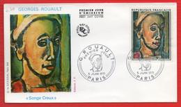 FDC GEORGES ROUAULT SONGE CREUX  PARIS 3 6 1971 - 1970-1979