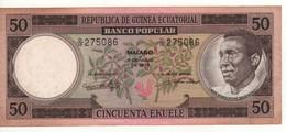 EQUATORIAL GUINEA  50 Ekuele   P10   Dated 07.07.1970   ( President Masie Nguema Biyogo Om Front - Logging At Back ) - Equatorial Guinea