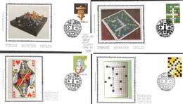 D - [907185]B/TB//-Belgique 1994 - N° 2592/95, 'PERUWELZ', 4 FDC, Série Complète , Jeux, Cartes À Jouer, Echecs - 1991-00