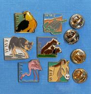 6 PIN'S // ** WWF / FONDS MONDIAL POUR LA NATURE / L'AIGLE / LA TORTUE / LE LOUP / L'OURS / LE FLAMANT ROSE / L'ÂNE ** - Animali