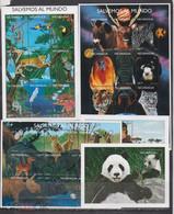 Nicaragua 1999 Mammals Panda Wild Cats Birds Etc 3klb+2s/s MNH - Otros