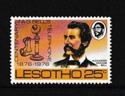 LESOTHO    1976    Centenary  Of  Telephone   25c  Stick  Telephone    MH - Lesotho (1966-...)