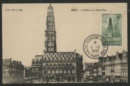 N° 567 10 Fr BEFFROI D'ARRAS Sur Carte Maximum En 1951 (voir Description). - 1940-49