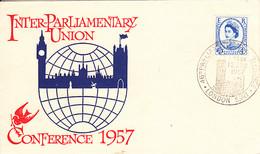 Great Britain 1957 FDC Sc #337 4c Inter-Parliamentary Union - 1952-1971 Em. Prédécimales
