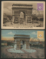 N° 709 + 711 ARC DE TRIOMPHE Sur 2 Cartes Maximum En 1951 (voir Description). - 1940-49