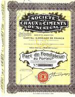 1928 ENTREPRISES COLONIALES V.HISTORIQUE Sté Des Chaux Et Ciments Du Sénégal Dakar Sénégal Tous Coupns B.E. - Afrika