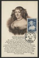 """N° 874 15 Fr MARQUISE DE SEVIGNE Sur Carte Maximum + C. à D. Premier Jour """"Hôtel Carnavalet 25/11/1950"""". - 1950-59"""