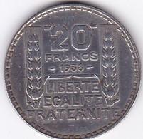FRANCE MONNAIE DE 20 FRANCS TURIN 1938 / ARGENT/ - L. 20 Franchi