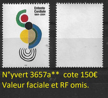 France N°3657a** Variété Sans Valeur Faciale Et Sans RF Cote 150€ - Variétés: 2000-09 Neufs
