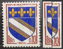 France (City Arms, 1963) 10c. Error/Variety: -3- Off-white Colored Vertical Fluorescence Bands Found On Stamps (Used) - Autres