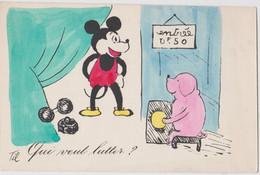 """Carte Postale  Mickey Mouse """"Qui Veut Rentrer"""" Halterophilie   Circus  Walt Disney   Dessinateur Til - Otros"""
