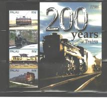 """PALAU  2005  """"TRAINS"""" MS.#830  MNH - Palau"""