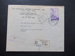 Ex Franz. Kolonie Marokko Einschreiben Casablanca Principal Umschlag The American Express Company Inc. - Marruecos (1956-...)