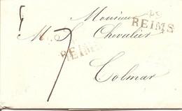 MARQUE LINEAIRE 49 REIMS Sur LAC Pour COLMAR TAXE 7 - 1801-1848: Precursors XIX