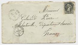 CANADA 5C SOLO LETTRE COVER ST GABRIEL DE MONTREAL 1881 TO FRANCE  SAVOIE + ENTREE CALAIS A PARIS 1° B - Briefe U. Dokumente