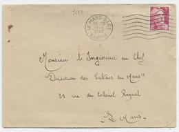 GANDON 5FR ROSE SEUL LETTRE MECANIQUE LE MANS GARE 10.1.1947 SARTHE - 1945-54 Marianne Of Gandon