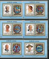 (B 16) Ajman Ob Bloc  Michel N° 257 à 268 - Personnages Célèbres Et Signes Du Zodiaque - - Ajman
