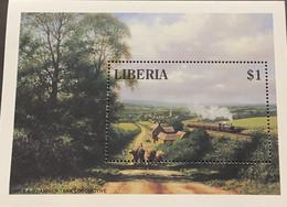 A) 1994, LIBERIA, LOCOMOTIVES PANNIER TANK, SOUVENIR SHEET, STEAM ENGINES - Liberia