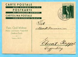 Postkarte Dietikon 1931 Mit Zudruck Fa. Graf-Widmer - Herren- Und Damen-Hutgeschäft - Stamped Stationery