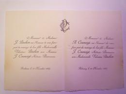 2021 - 434  FAIRE-PART Du Mariage De J. COUMEIGT Médecin-pharmacien Et Valentine PINCHON  (Bordeaux & Rébénacq 1887) - Huwelijksaankondigingen