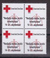 Montenegro 2012 Tuberculosis TBC Red Cross Croix Rouge Rotes Kreuz Cruz Roja Tax Charity Surcharge Block Of 4 MNH - Montenegro